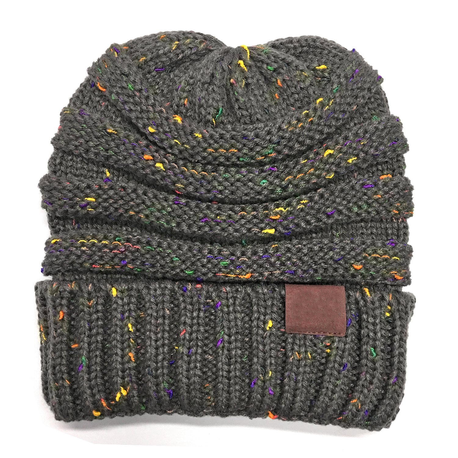 Trendy Warm Chunky Soft Stretch Cable Knit Beanie Skull Slouchy Beanie Hats Outdoor Skiing Warm Hats,One Size,Mix Color Grey by FALE (Image #2)