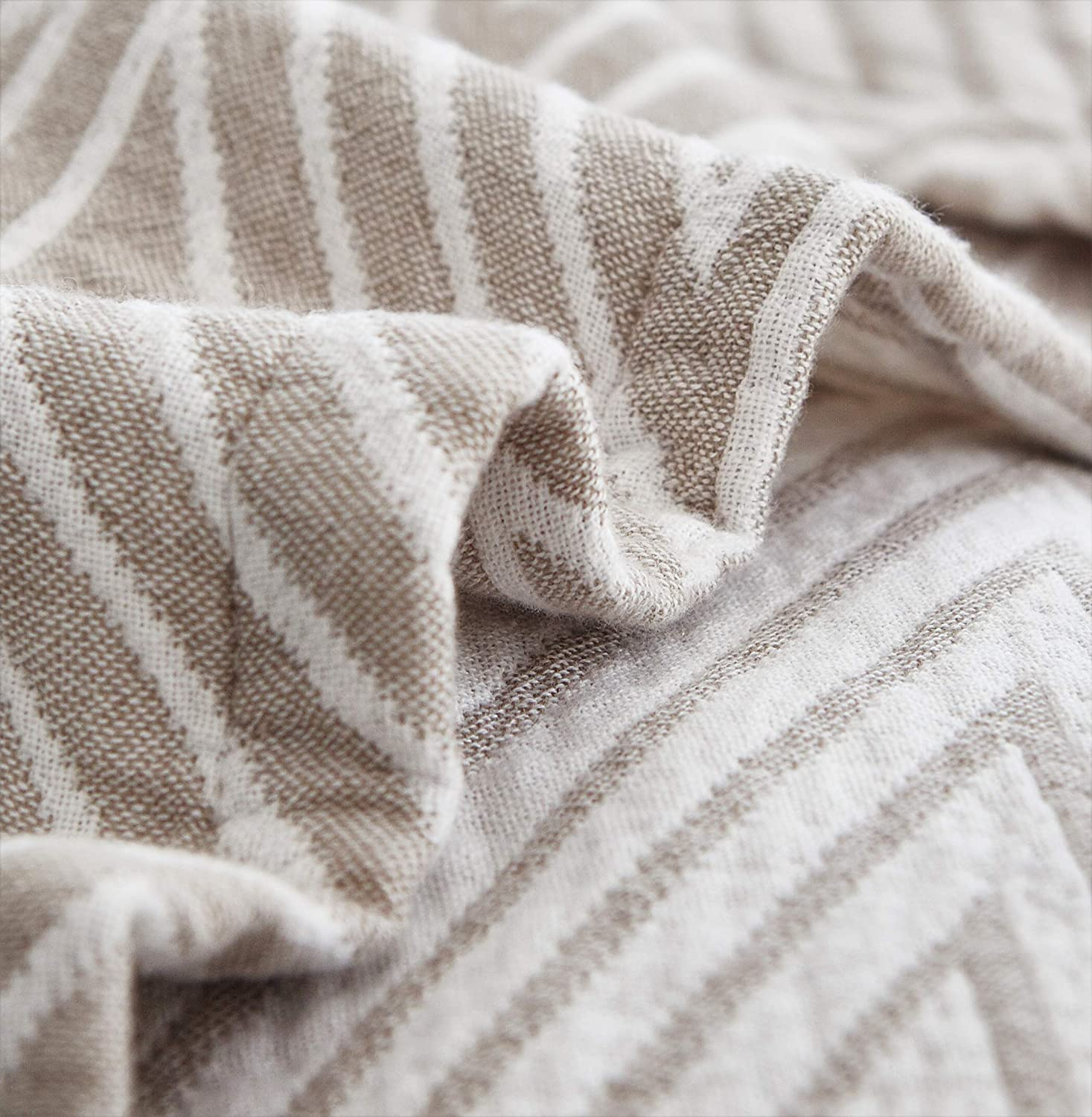 Check2 Gray, F//Q 78 X 90 MEJU Grey Checks Stripes Triange Muslin Lightweight Summer Blanket for Bed Sofa Couch 100/% Combed Cotton 3 Layer Soft Warm Quick Dry Throw Blanket Bed Coverlet Sheet