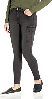 product image for James Jeans Women's J Twiggy Ankle Cargo Skinny Jean with Raw Hem in Blacked Out
