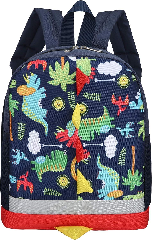 Kids Toddler Backpack Boys with Strap Dinosaur Blue Kindergarten Leash Bookbag (dark blue)