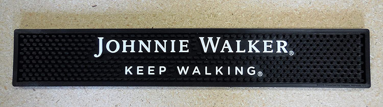 Johnnie Walker Keep Walking Bar Rail Spill Mat - - Black NEW Johhny Walker
