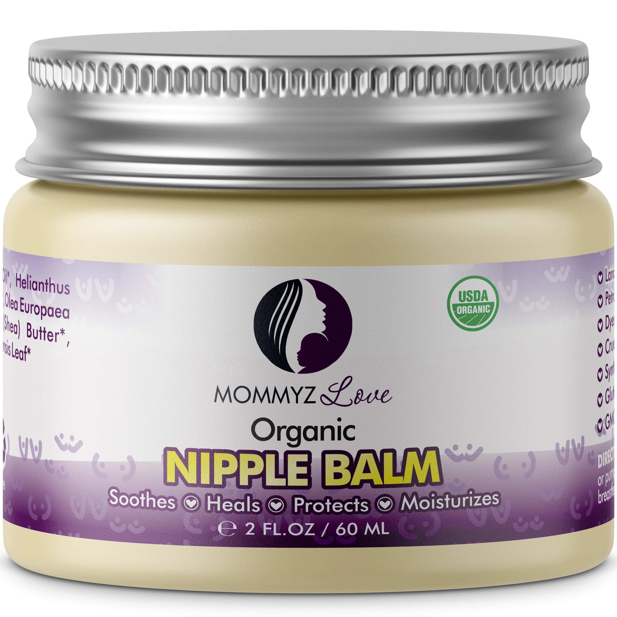 Best Nipple Cream for Breastfeeding Relief (2 oz) - Provides Immediate Relief To Sore, Dry And Cracked Nipples Even After A Single Use - PEDIATRICIAN TESTED - USDA Certified Organic (1 Jar) by Mommyz Love