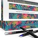 Genuine Crafts Set of 100 Premium Washable Nontoxic Watercolor Brush Pens