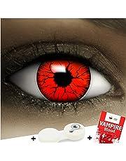 """Farbige Kontaktlinsen """"Devil"""" + Kunstblut Kapseln + Behälter von FXContacts in rot, weich, ohne Stärke als 2er Pack - angenehm zu tragen und perfekt zu Halloween, Karneval, Fasching oder Fasnacht"""