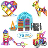 Magnetic Blocks Building Set Toys For Kids TOQIBO 76PCS Magnet Tiles Educational Building tiles Construction Toys For Boys Girls With Storage Bag