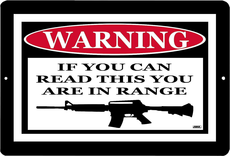 Rogue River Tactical Señal de Advertencia Texto en inglés No Trespass Metal Tin Sign If You Can Read This You Are In Range Gun Rifle