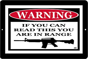 Rogue River Tactical Funny Warning No Trespassing Metal Tin Sign If You Can Read This You are in Range Gun Rifle