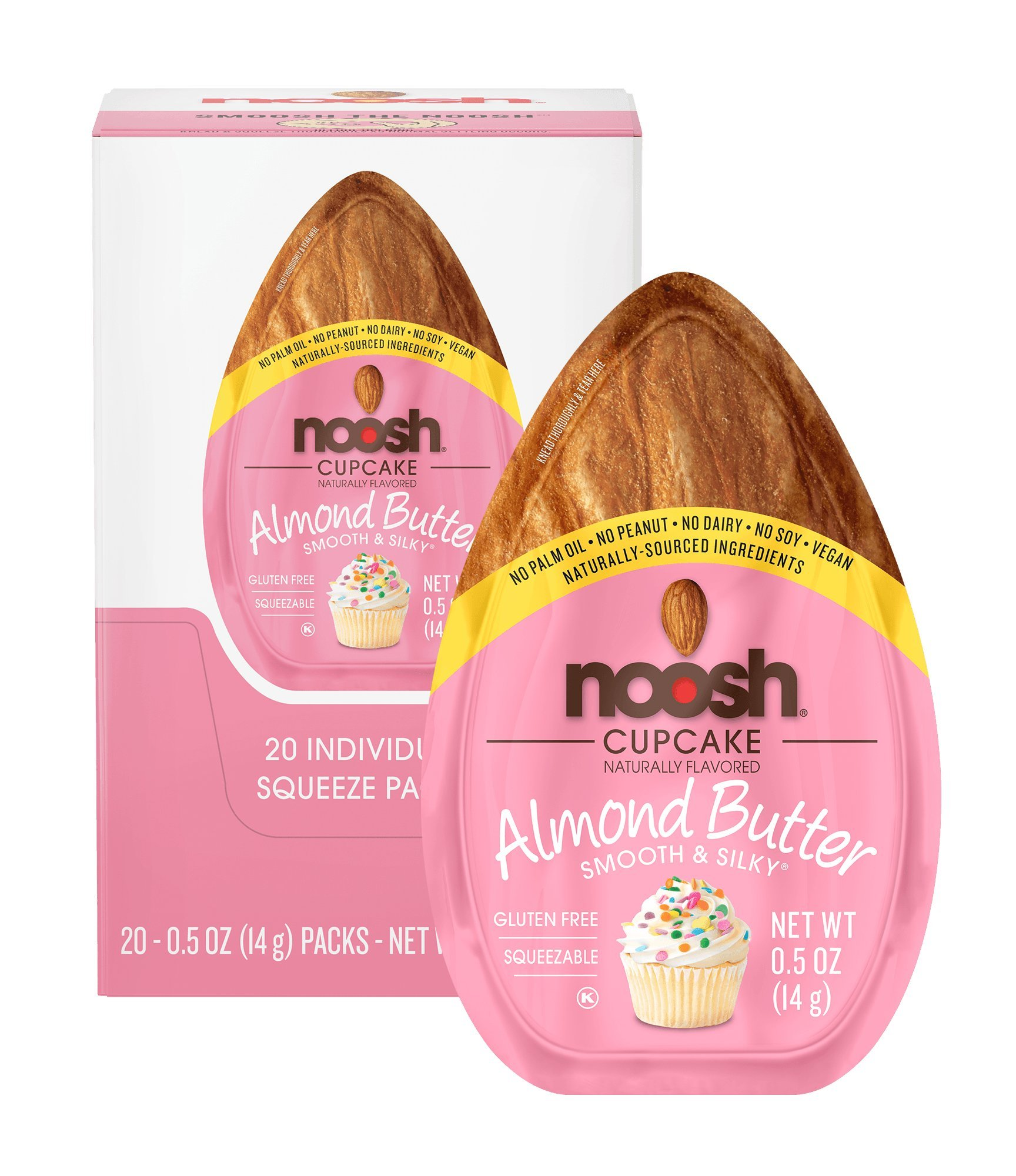 NOOSH Almond Butter Cupcake (20 Count) - All Natural, Vegan, Gluten Free, Soy Free, Dairy Free