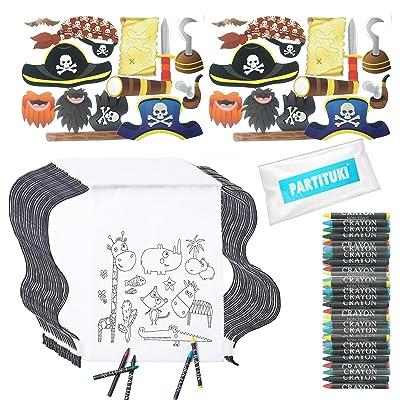 Partituki Regalos Cumpleaños Niños Colegio. 30 Mochilas de Colorear, 30 Sets de 5 Ceras de Colores y 24 Piezas de Fotocall Piratas: Juguetes y juegos