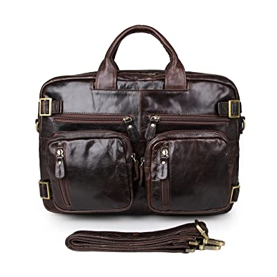 AB Earth Leather Briefcase Backpack, M43 (Coffee)