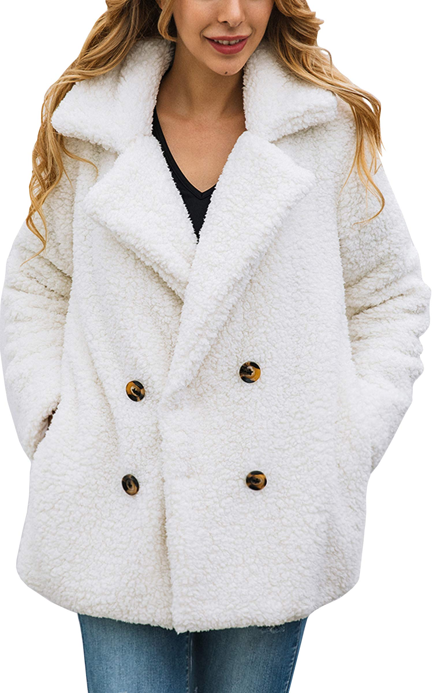 ECOWISH Womens Double Breasted Lapel Open Front Fleece Coat with Pockets Outwear White L by ECOWISH
