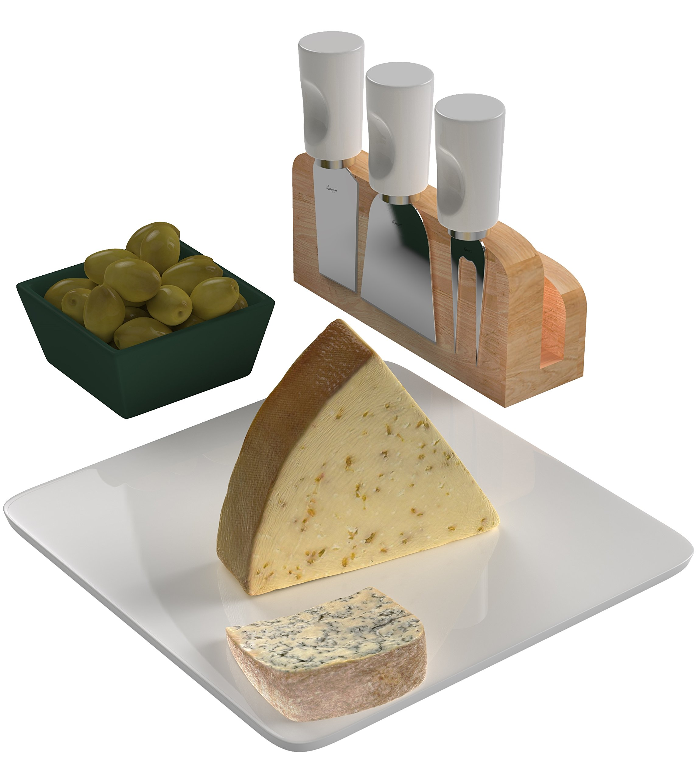 Wamery Cheese board & Knives set. 5 Pieces, Stainless Steel Shaver, Slicer & Cheese fork, Ceramic cutting board and Wooden holder. Cut, Slice, Shave, and Serve any kind of cheese