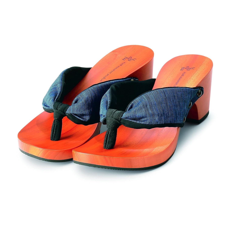 Japanese Style Sandals with a Wooden Platform and Blue & Black Cloth (9) B00J6LDK74 9|Blue & Black