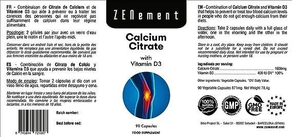 Citrato de Calcio 800mg con Vitamina D3, 90 Cápsulas, para prevenir los bajos niveles de Calcio en la sangre, No GMO, 100% Natural: Amazon.es: Salud y ...