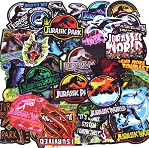 LIN LANG Dinosaur Stickers Jurassic World Park Decals, Laptop Water Bottle Skateboard Phone Motorcycle Bicycle Luggage Guitar Bike Sticker Vinyl Waterproof Decal 75pcs Pack Dinosaur Party Supplies