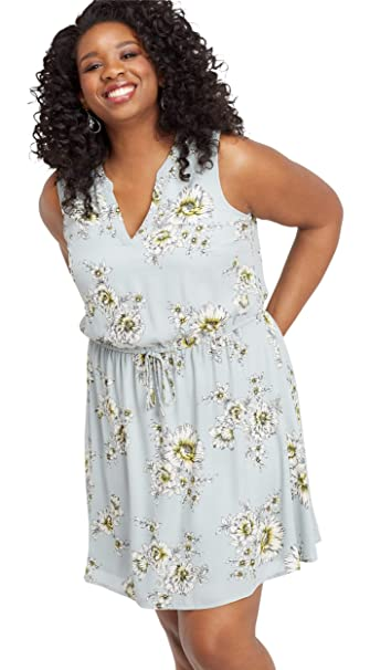 maurices Women\'s Plus Size Floral V-Neck Tie Waist Dress at Amazon ...
