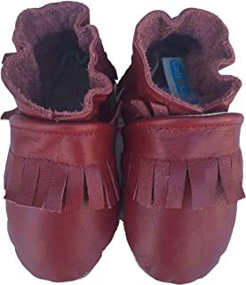 product image for FRINGE MOCS (pomegranate) Handmade in USA, All-Natural Leather Baby Shoes.