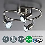 3 Way LED ceiling spotlights | Three LED spots 3 W 250 lumens each | Pivotable and rotating spots | bulbs included | kitchen fitting | GU 10 lamp holder | EEC A+