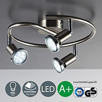 3 Way LED Ceiling Spotlights | Three LED Spots 3 W 250 Lumens Each |  Pivotable