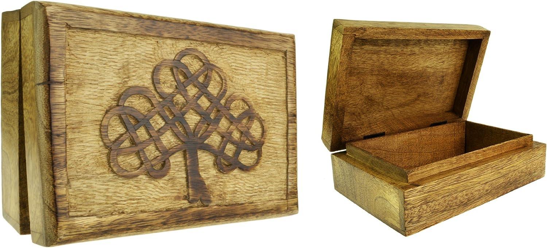 Madera maciza árbol celta tarot tallada caja 7 x 5 pulgadas: Amazon.es: Hogar