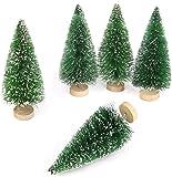 Goldenlight 10Pcs Artificial Mini Christmas Trees Mini Pine Tree Sisal Trees Miniature with Snow Wood Base Ornaments for…