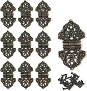 """Tulead Butterfly Hinges Antique Cabinet Hinges Zinc Alloy Mini Hinges 2""""x1.1"""" Decorative Furniture Hinges Chest Hinges Pack of 10 with Mounting Screws"""