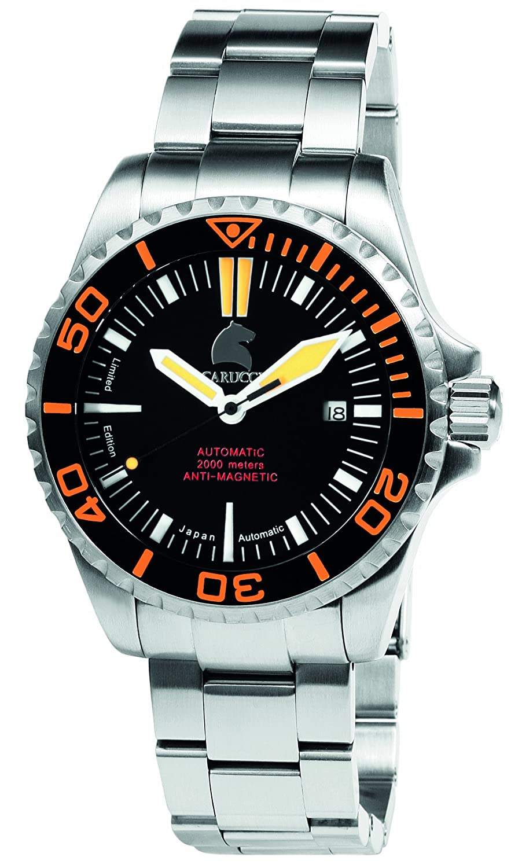 Carucci Watches - Reloj analógico automático para hombre con correa de acero inoxidable, color plateado