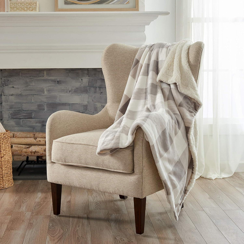 Amazon Com Home Fashion Designs Premium Reversible Two In One Sherpa And Fleece Velvet Plush Blanket Fuzzy Cozy All Season Berber Fleece Throw Blanket Buffalo Check Grey Home Kitchen