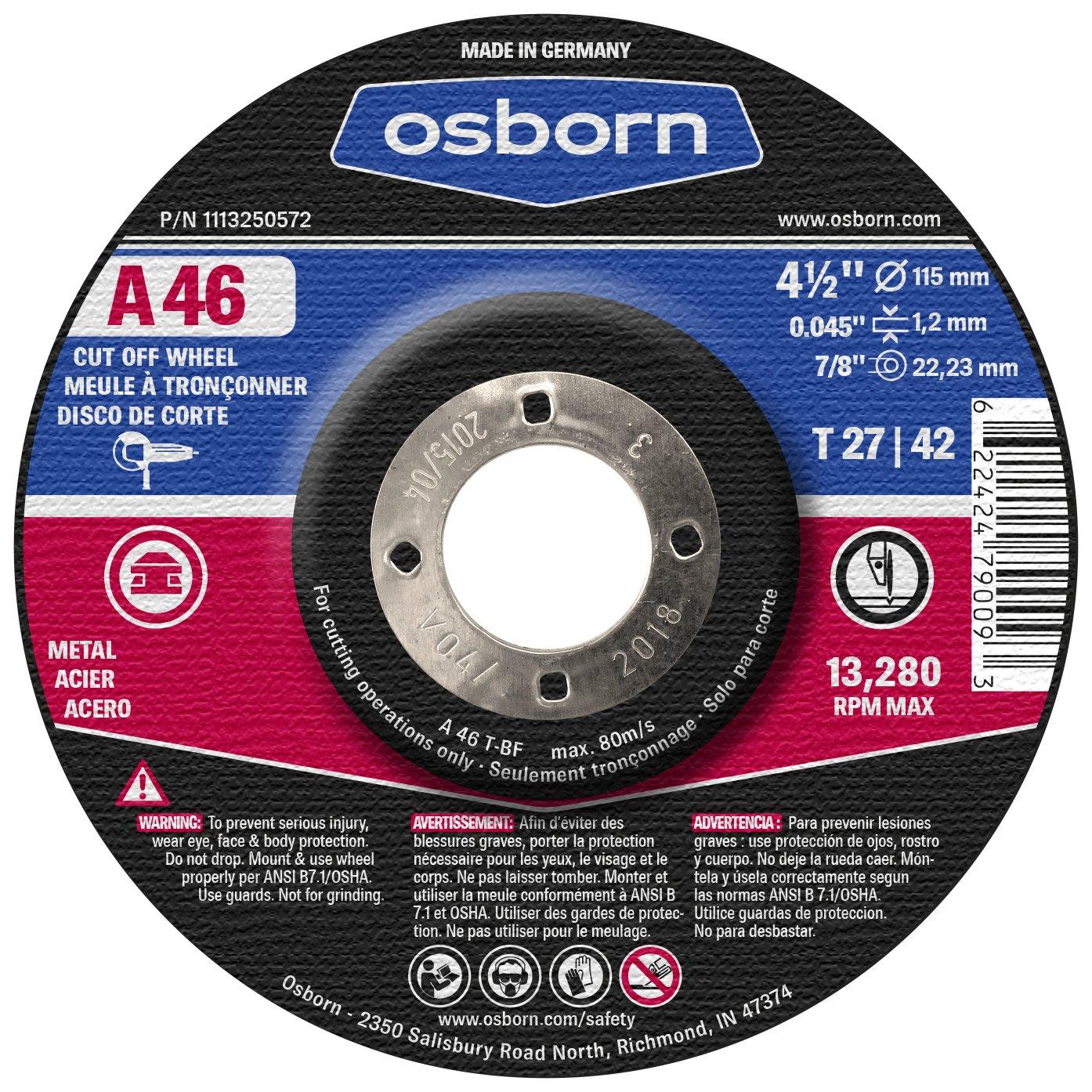 4.5 Diameter 4-1//2 x 0.045 x 7//8 Osborn 1113250572 Cutting//Cut-Off Disc T27 Aluminum Oxide A 60 4.5 Type Pack of 25 13280 rpm