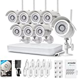 Zmodo 1080p 8CH HDMI NVR System with (8) 1.0 Megapixel Wireless Surveillance IP Network Security Cameras with 500GB HDD IR Night Vision, Motion Detetion and Remote Playback