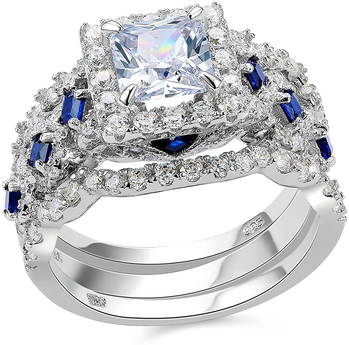 MARVELOUS 1.5 CT SAPPHIRE 925 STERLING SILVER RING SIZE 5-10