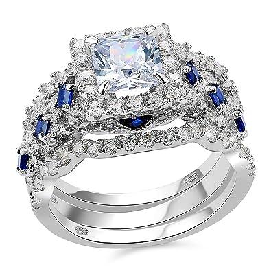 newshe 3pcs 25ct princess white cz blue 925 sterling silver wedding engagement ring set size - Silver Wedding Ring Sets