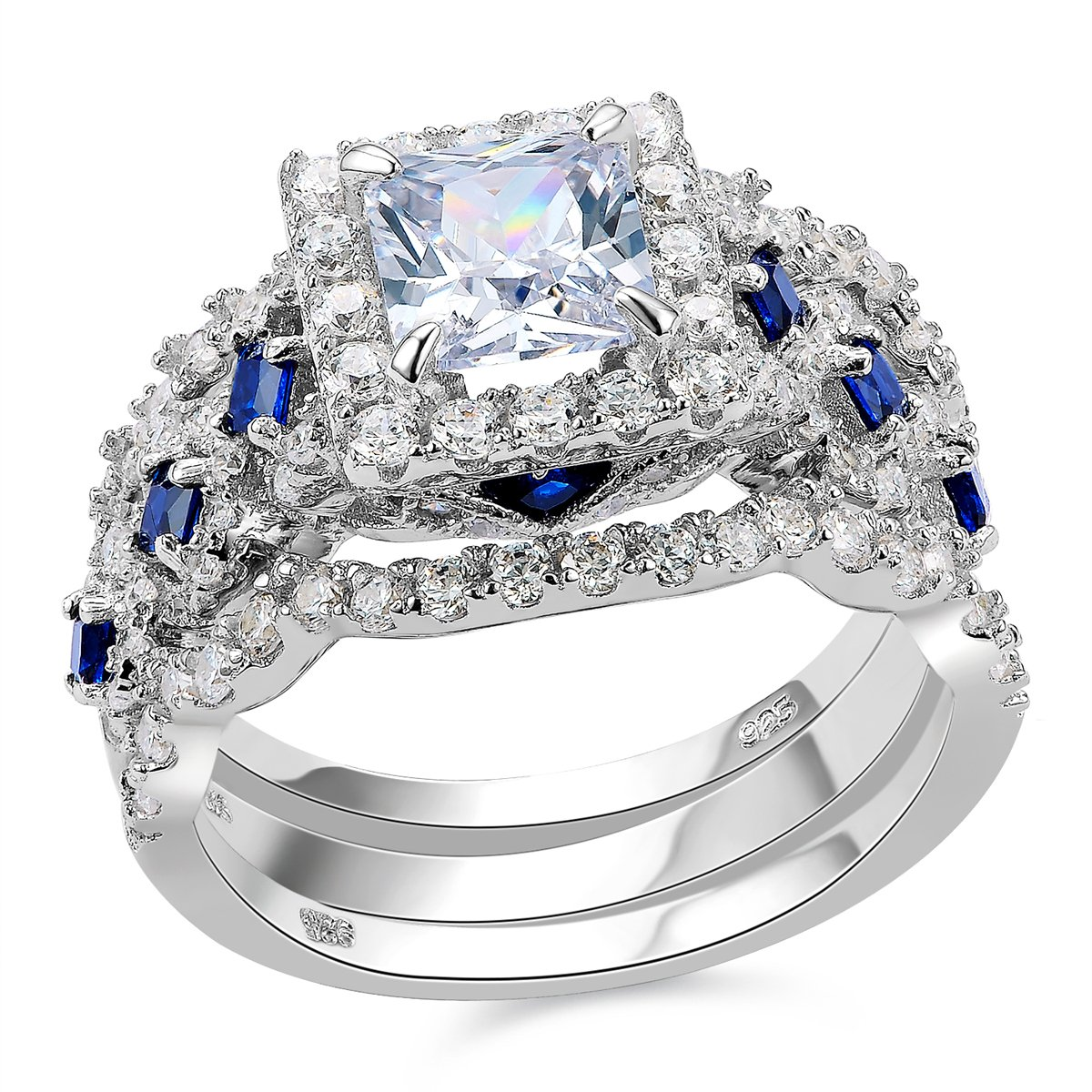 Newshe Engagement Wedding Ring Set 925 Sterling Silver 3pcs 2.5ct Princess White Cz Blue Size 8