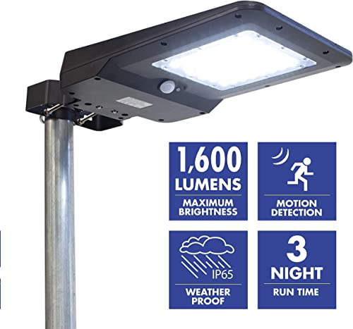 Wagan EL8586 1600 Lumen Integrated Solar Street Lamp Flood Light, Motion Sensor Included, Black