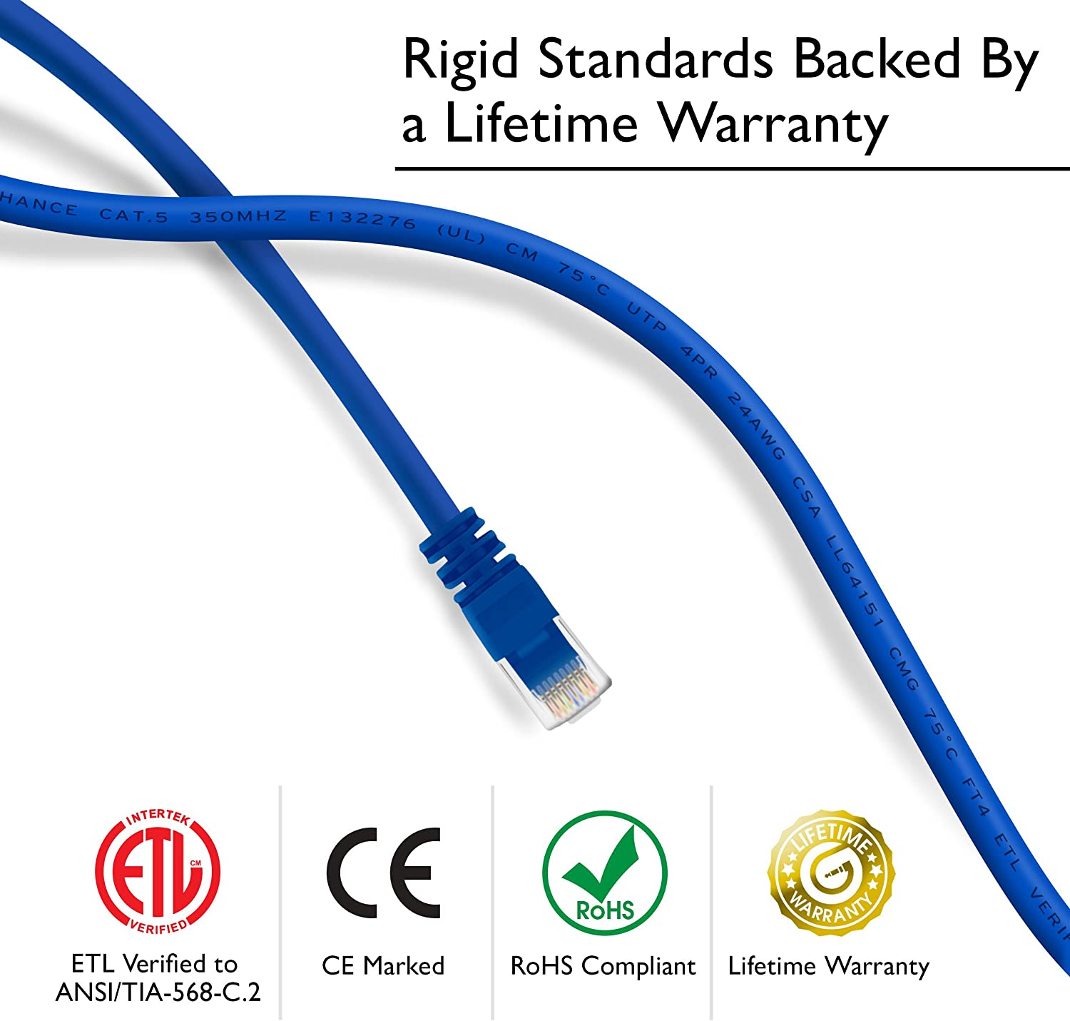 GearIT 50-Pack Snagless RJ45 Computer LAN Network Cord Compatible with 48 Port Switch POE Rackmount 48port Gigabit Cat5e Ethernet Patch Cable 1 Foot Blue