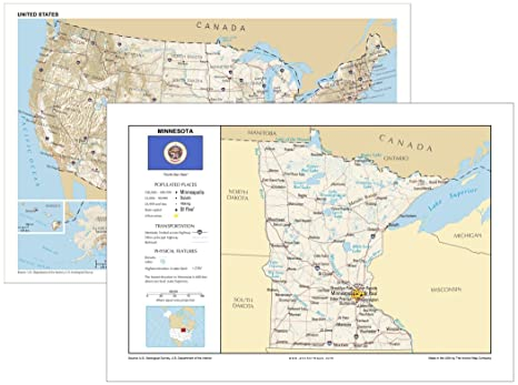 Amazoncom 13x19 Minnesota And 13x19 United States General - Minnesota-in-us-map