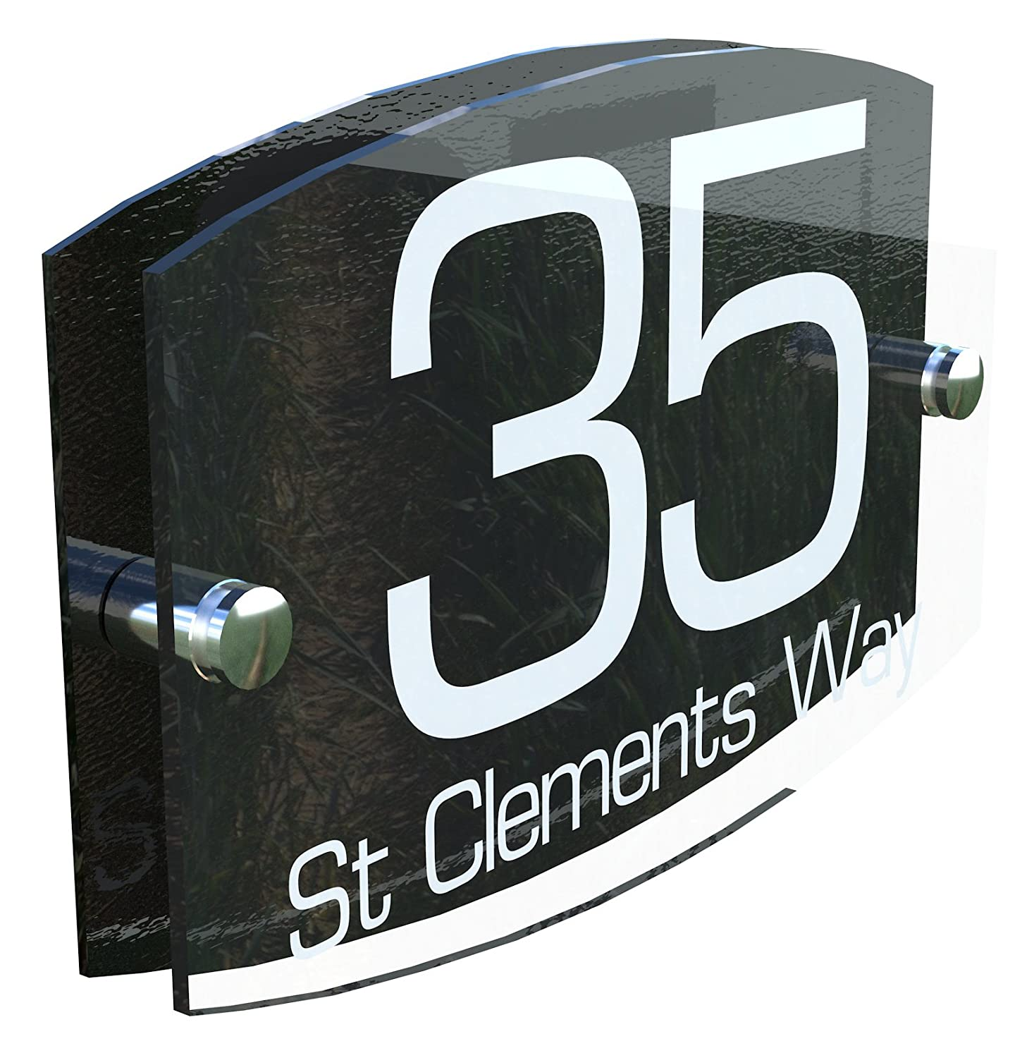 Modern Perspex Steel Aluminium Perspex Acrylic House Number Wall Plaque Sign EMA5-8W K Smart Sign Ltd