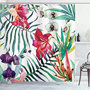 """Ambesonne Watercolor Flower Shower Curtain, Tropical Wild Orchid Flowers with Palm Leaves Print Exotic Style Nature, Cloth Fabric Bathroom Decor Set with Hooks, 70"""" Long, Green Red"""
