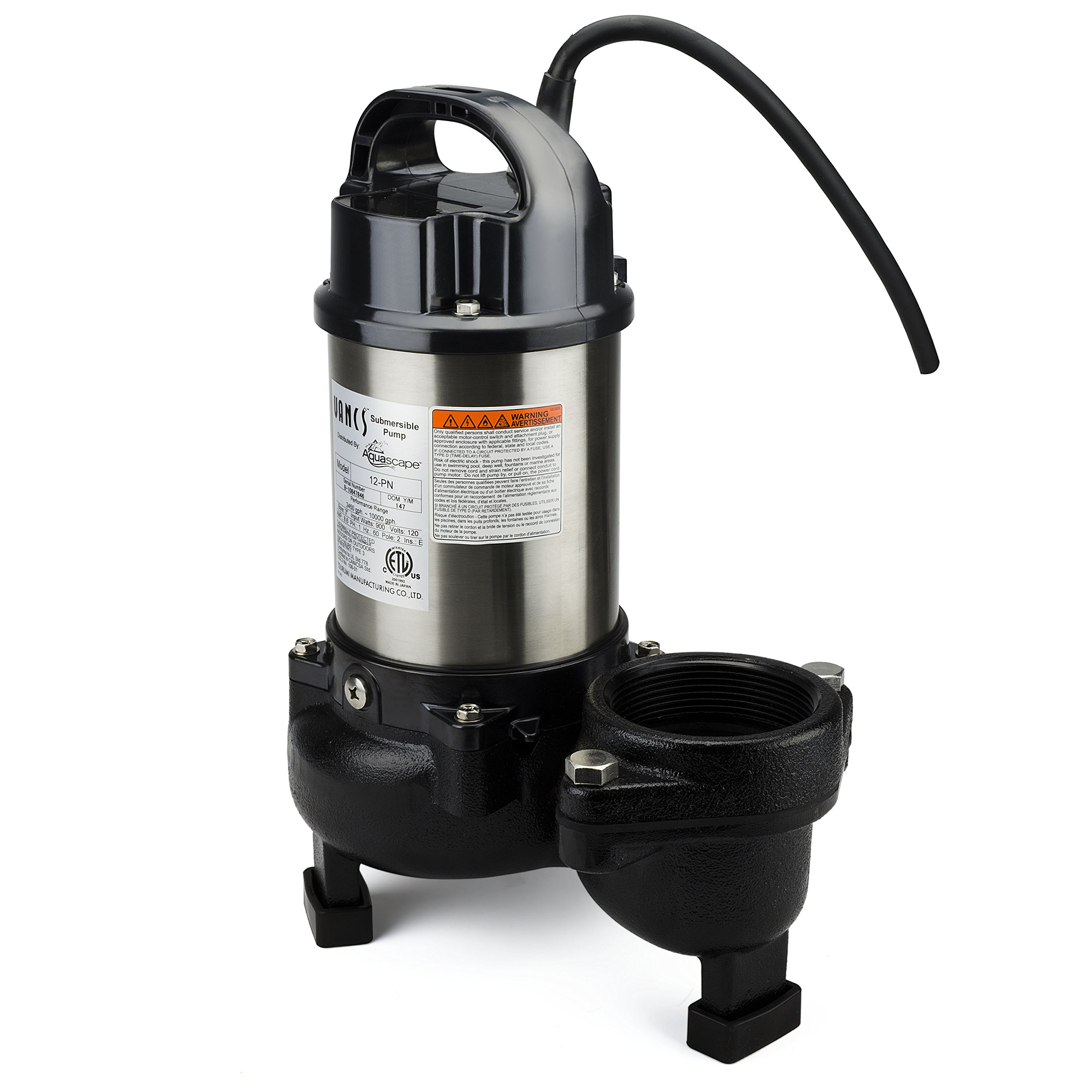 Aquascape 30391 Tsurumi 12PN Submersible Pump for Ponds, Skimmer Filters, and Pondless Waterfalls, 10,000 GPH by Tsurumi (Image #3)