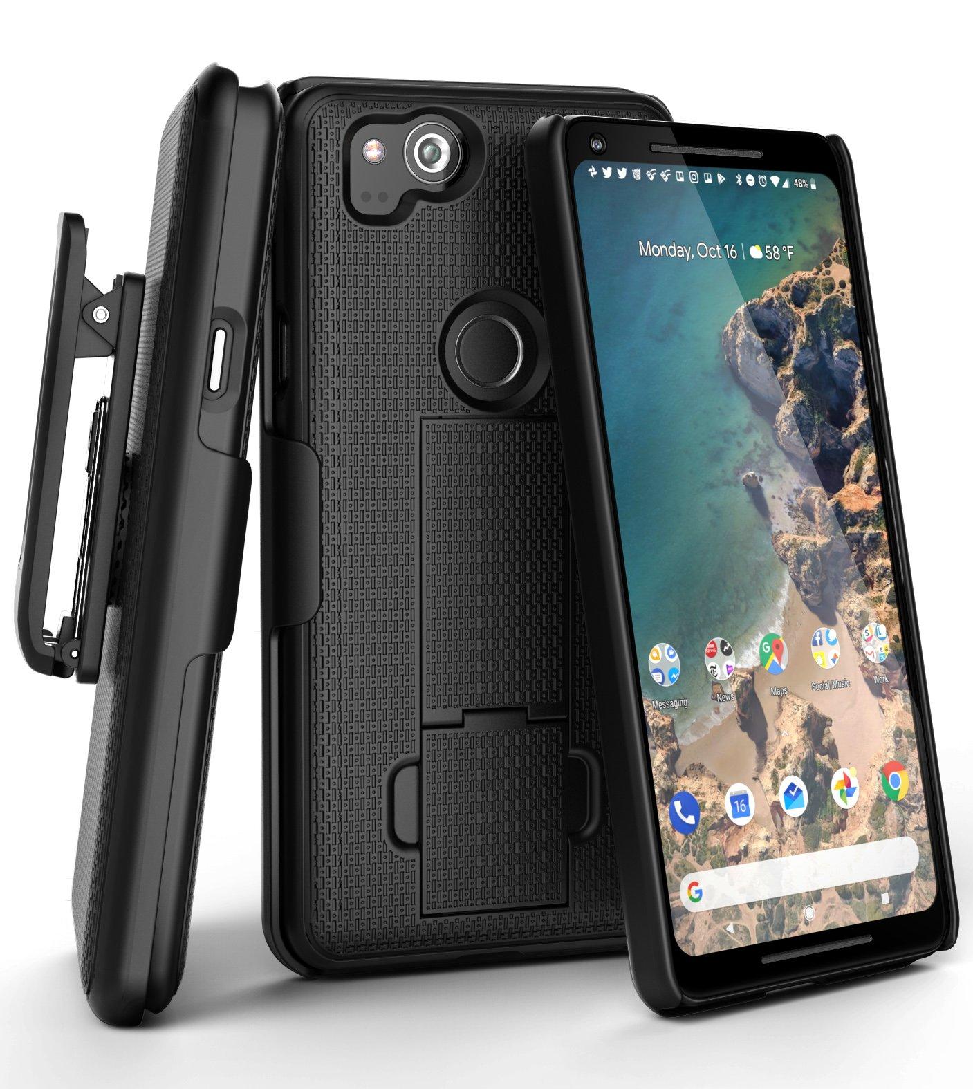 Google Pixel 2 XL Belt Clip Case, Encased (DuraClip) Slim Fit Holster Shell Combo (rubberized/non slip) Smooth Black