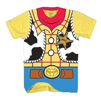 796243ac Amazon.com: Disney Toy Story Sheriff Woody Cowboy Costume Adult T-Shirt:  Clothing