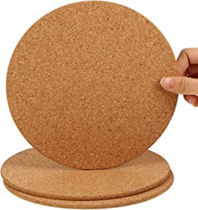 Boao Wooden Thick Cork Drink Coasters, for Home Bar Kitchen Restaurant Cafe Wedding Supplies (0.3 Inch Thick x 8 Inch Diameter, 3 Packs)