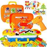 STEM Learning Toys 276 Pcs Building Block, Creative Electric DIY Drill Puzzle, 2D 3D Educational Construction Engineering Kid