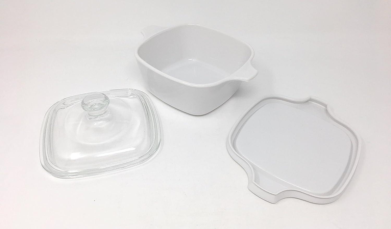 CorningWare - Cazuela/Corelle hornillo, de cerámica Petite cacerola cacerola utensilios de cocina con tapa de cristal y plástico (3 piezas) 700 ml: ...
