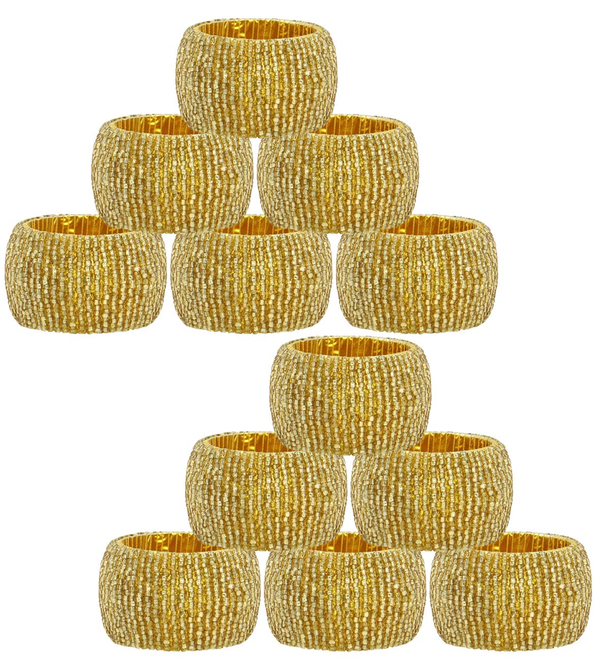Cotton Craft Hand Made by skilled artisans A beautiful complement to your dinner table d/écor Gold 12 Pack Beaded Napkin Ring Set