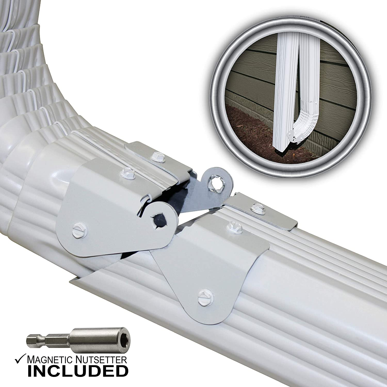 Zip Hinge 3 Pack Plus | 1-6 Packs of Gutter Extension Hinges w/Clasp + Magnetic Nutsetter | DIY Installation on Any Size Rectangle or Square Downspout