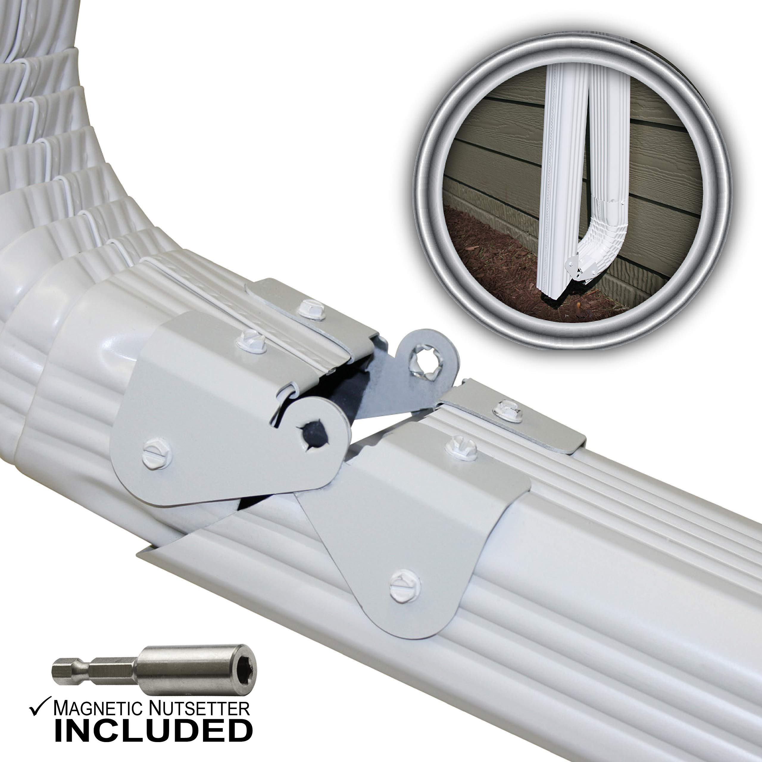 Zip Hinge Plus 4 Pack | 1-6 Packs of Gutter Extension Hinges w/Clasp + Magnetic Nutsetter | DIY Installation on Any Size Rectangle or Square Downspout by Zip Hinge