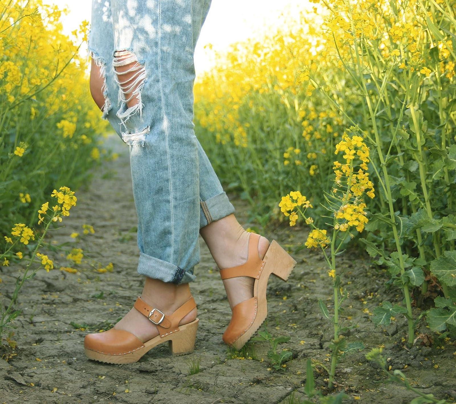 Sandgrens Swedish Wooden High Heel Clog Sandals - 6