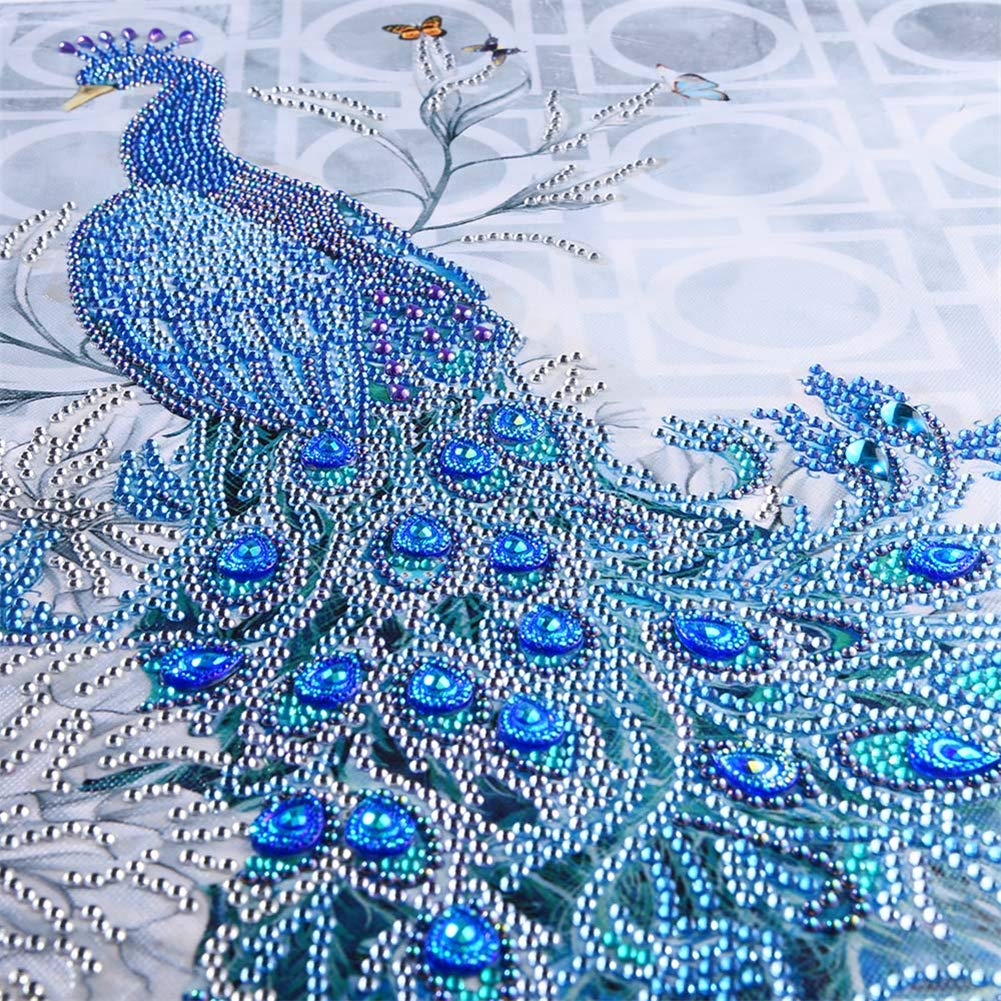 5D Diamond Painting feilin Peacock Diamond Painting Kit DIY Diamond Rhinestone Painting Kits for Adults and Beginner Embroidery Arts Craft Home Decor D 35x45cm