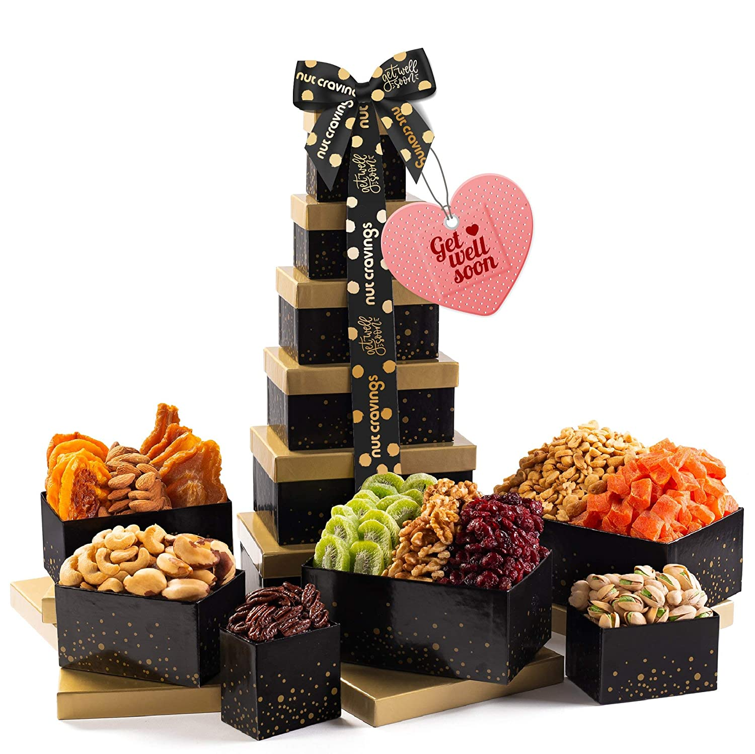 Get Well Soon Nut & Dried Fruit Tower Gift Basket, (12 Mix) - Valentine Food Arrangement Platter, Care Package Variety, Prime Birthday Assortment, Healthy Kosher Snack Box for Women, Men, Adults